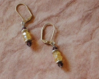 Yellow and burgundy rondelle earrings
