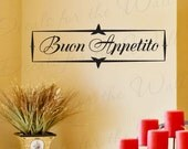 Buon Appetito Italian Kitchen Dining Room Wall Decal Decorative Vinyl Quote Saying Lettering Decoration Sticker Decor Art Letters KI30