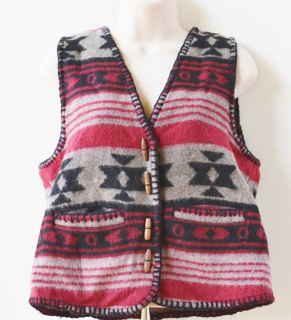 Vintage Southwestern Vest Women's Vest Navajo Vest Country Western Vest With Toggle Buttons Size Medium Large
