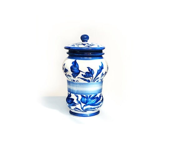 Vintage Spice Storage Jar Blue and White,Italian Spice Jar.