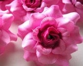 12 Pink mini Roses Heads - Artificial Silk Flower - 1.75 inches - Wholesale Lot - for Wedding Work, Make Hair clips, headbands, hats