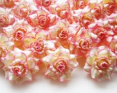 100 Cream pink edge mini Roses Heads - Artificial Silk Flower - 1.75 inches - Wholesale Lot - for Wedding Work, Make Hair clips, headbands