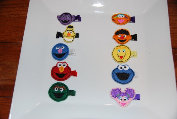 Felt Embroidered Sesame Street Hair Clips-YOU CHOOSE 6