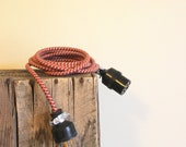 Custom for Jeff - one 14' and one 5' Extension Cord - Cloth Cord Vintage Replica in Red Houndstooth