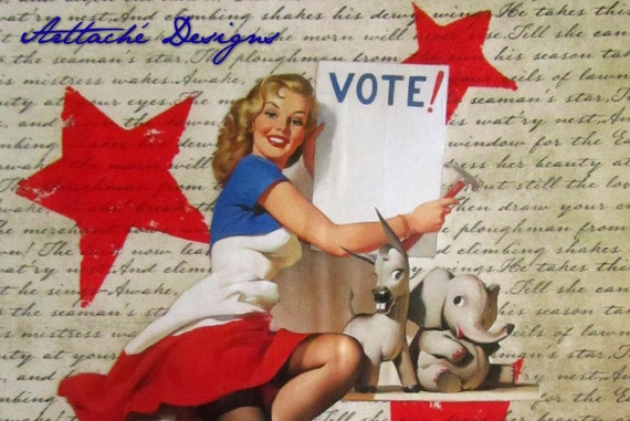 "Voting Girl I Pin-Up - wall art mixed media collage 8""X10"" within 11""X14"" matboard"