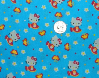 Hello Kitty with Flowers and Butterflies - Fabric By The Yard