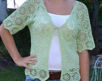 Hand Made, Green Crocheted Shirt - Sizes 0 to 20