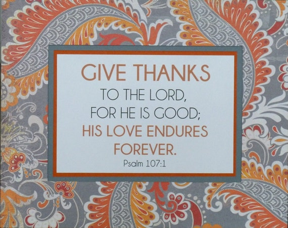 Scripture art fall thanksgiving orange gray give thanks home decor