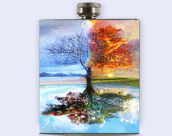 Flask, four seasons tree flask, unique flask, flask for women