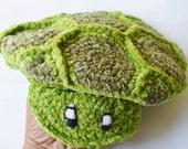Newsboy Crochet Green Turtle Hat