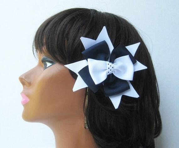 Girl Hair Clips, Girl Hair Bows, Navy Blue and White Hair Bow, Girl Barrettes