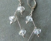 FLIRTY SEXY Earrings: Sterling Silver Faceted Crystal Earrings For Wedding, Valentine,Party Occassions