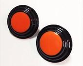 Retro Round Black and Orange Metal Button Pierced Earrings