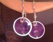 Silver Amethyst Drop Earrings - 925 Domed Earrings Drops with Purple Amethysts. Original Design