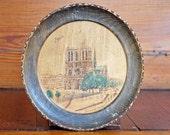 1900s Paris Souvenir Plate // 1900s Paris Wooden Plate