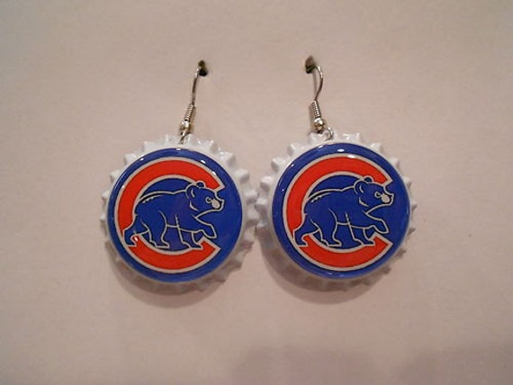 chicago cubs bottle cap earrings by goldylyon on etsy