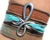 Boho Silk Wrap Bracelet, Wrap Bracelet, Yoga Jewelry, Religious Bracelet, Christian Jewelry, Cross Bracelet, Cross Jewelry, Silk Ribbon