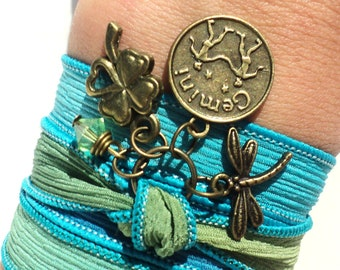 Pick Your Sign Zodiac Silk Wrap Bracelet Dragonfly Yoga Jewelry Earthy Unique Gift For Her Christmas Stocking Stuffer Under 50 Item Z92