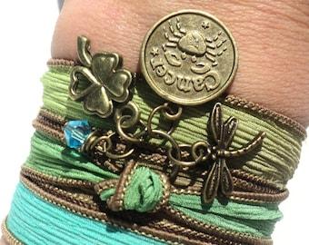 Pick Your Sign Zodiac Silk Wrap Bracelet Dragonfly Yoga Jewelry Bohemian Unique Gift For Her Christmas Stocking Stuffer Under 50 Item Z94