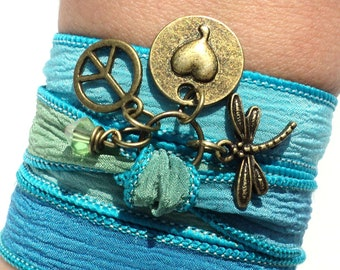 Peace Love Silk Wrap Bracelet Yoga Jewelry Dragonfly Bohemian Hippie Earthy Stocking Stuffer Unique Gift For Her Under 50 Item P65