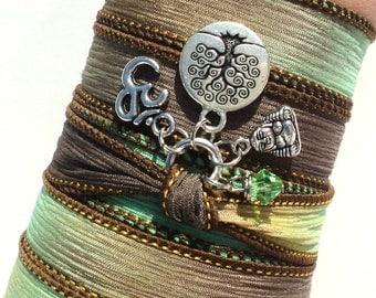 Tree of Life Buddha Om Silk Wrap Bracelet Yoga Jewelry Meditation Namaste Fall Earthy Unique Gift For Her Stocking Stuffer Under 50 Item J59