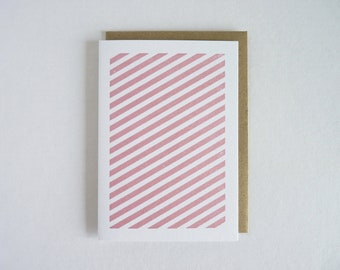Geometric Pink Stripes - Gocco Printed Note Card