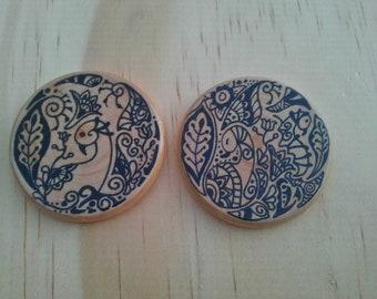 Round henna design earrings