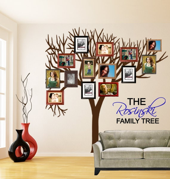 items similar to family tree wall decal personalized. Black Bedroom Furniture Sets. Home Design Ideas