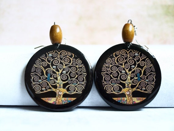 Klimt Tree of Life  Unique handmade decoupage earrings  Very light and elegant Klimt jewelry Brown yellow black  gold  Round earrings