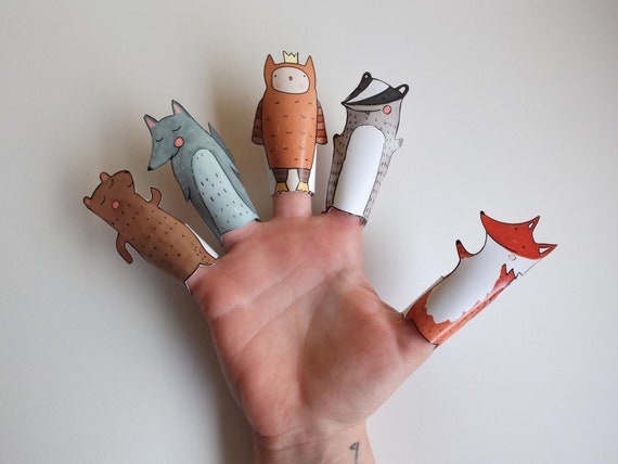 Forest Hand Drawn Paper Finger Puppets By Curmilla, Printable PDF,Fox,Owl,Bear,Badger and Wolf