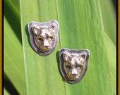 Stud Earrings Post Earrings Animal Earrings Tabra Bronze Jaguar Earrings Small Cat Earrings Big Cat Jaguar Jewelry Cat Jewelry Ethnic  Boho