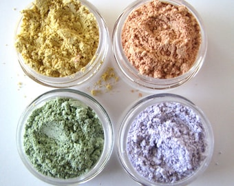 Mineral Makeup Samples - Concealer - Try all 4- Lavender-Yellow- Peach- Mint Green- Color Corrector Sample
