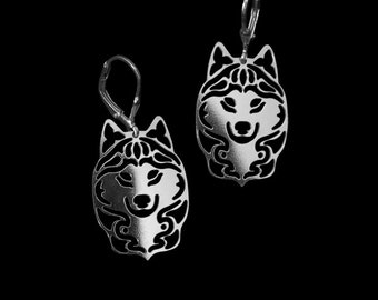 Siberian husky earrings - sterling silver