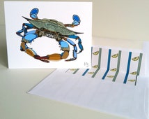 Maryland Blue Crab Note Card with lined white envelope, Chesapeake Blue Crab Baltimore Blue Crab