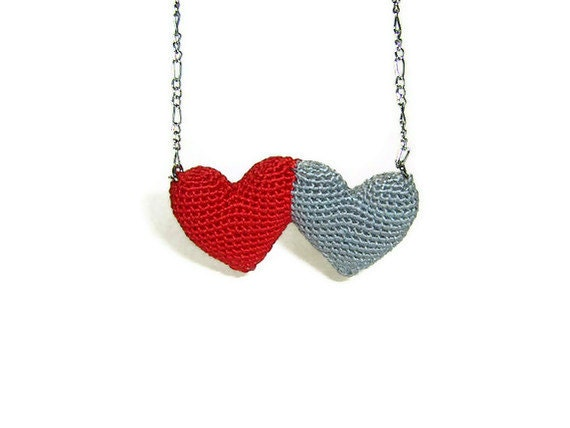 Crochet Double Heart Necklace, Red - Grey
