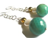 Shoulder Duster Dangle Earrings - Turquoise Jasper Gold Pyrite Pearls