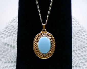 Vintage Filigree Pendant Necklace Robin's Egg Blue Cabochon