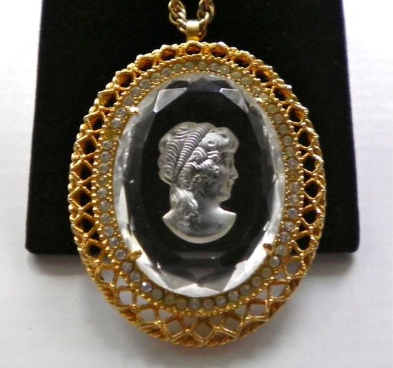 Cameo Intaglio Vintage Pendant Necklace with Filigree and Rhinestone Frame
