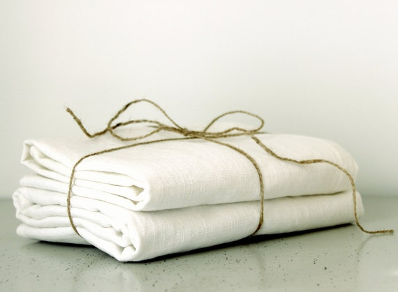 Solid Linen Pillow Covers - Off white Linen Pillow Cases - Set of 2 - 24x24 Linen Pillow Covers