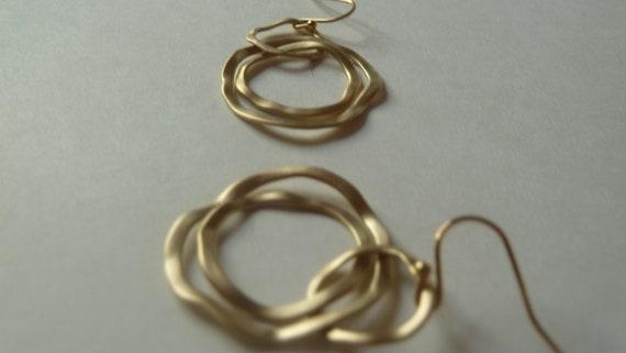 Matte gold convertible tri-circle earrings
