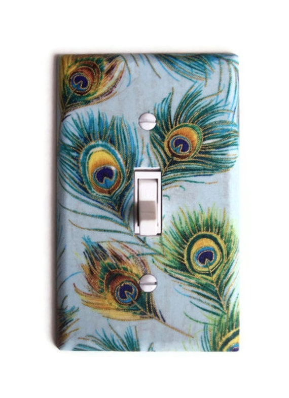 Peacock Feather Single Toggle Switchplate, wall decor