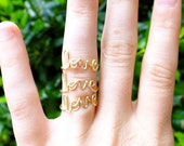 Love Ring - Set of Three - Gold Colored Wire Word Ring - Mother's Day Gift - Bridesmaid gift - Adjustable or Fixed Size