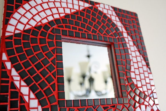 Black, White and Red Mosaic Mirror