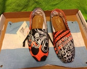 Oklahoma State University hand painted and customized toms shoes