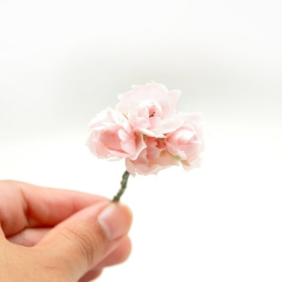 Dusty Pink Miniature Bouquet of Fabric Carnation-style Flowers