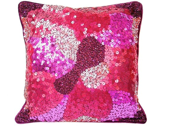Pink Sequin Decorative Pillows : Pink Sequin Pillow Plum Throw Pillow Pink Cushion Decorative
