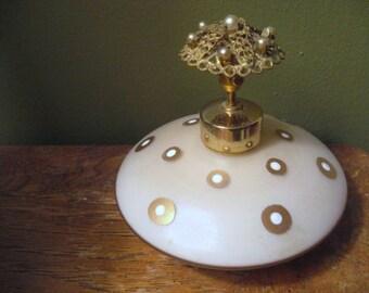 MODERNIST 1940s DECO Mauve Polka Dot Satin Milk Glass DEVILBISS Pearl Jewel Brass Filigree Spray Perfume Bottle