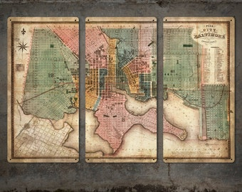 "Vintage Map of Baltimore METAL Triptych 54x36"" FREE SHIPPING"