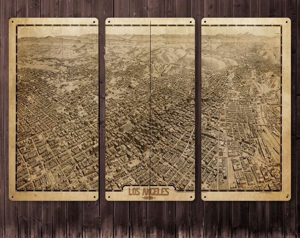 Vintage Map Of Los Angeles METAL Triptych X FREE - Los angeles map vintage