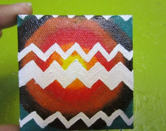 "modern zig zag hand painted 4""x4"" mini canvas magnet  abstract oil painting"